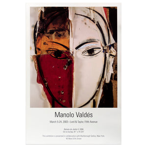 2003 Marlborough Gallery, New York poster for Manolo Valdés featuring his piece entitled Retrato de Jackie II of a face with no nose or lips, and divided in two sections