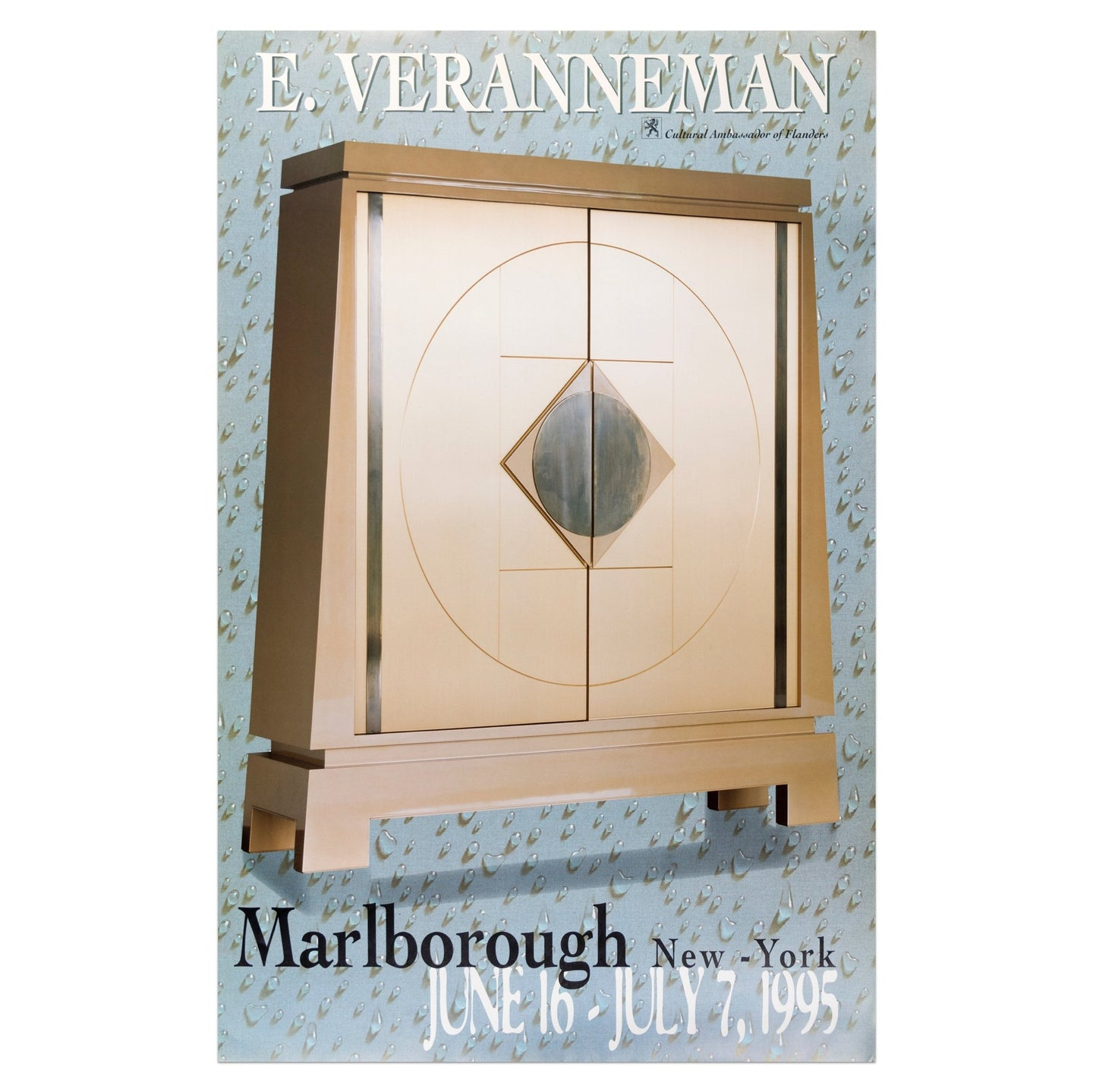 1996 Marlborough New York poster for Emiel Veranneman featuring a gold cabinet chest with detailing of a circle and square