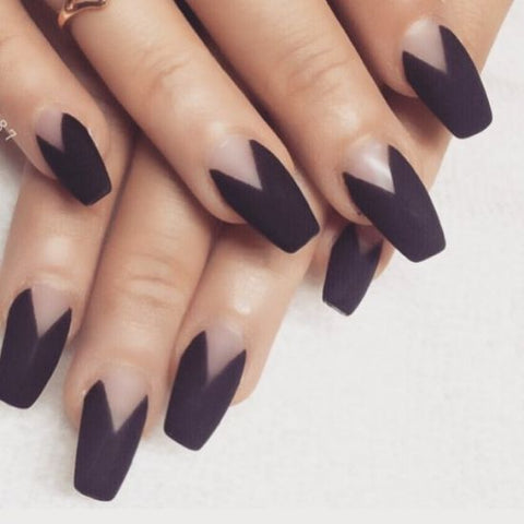 Goth Black Coffin Shaped Nails