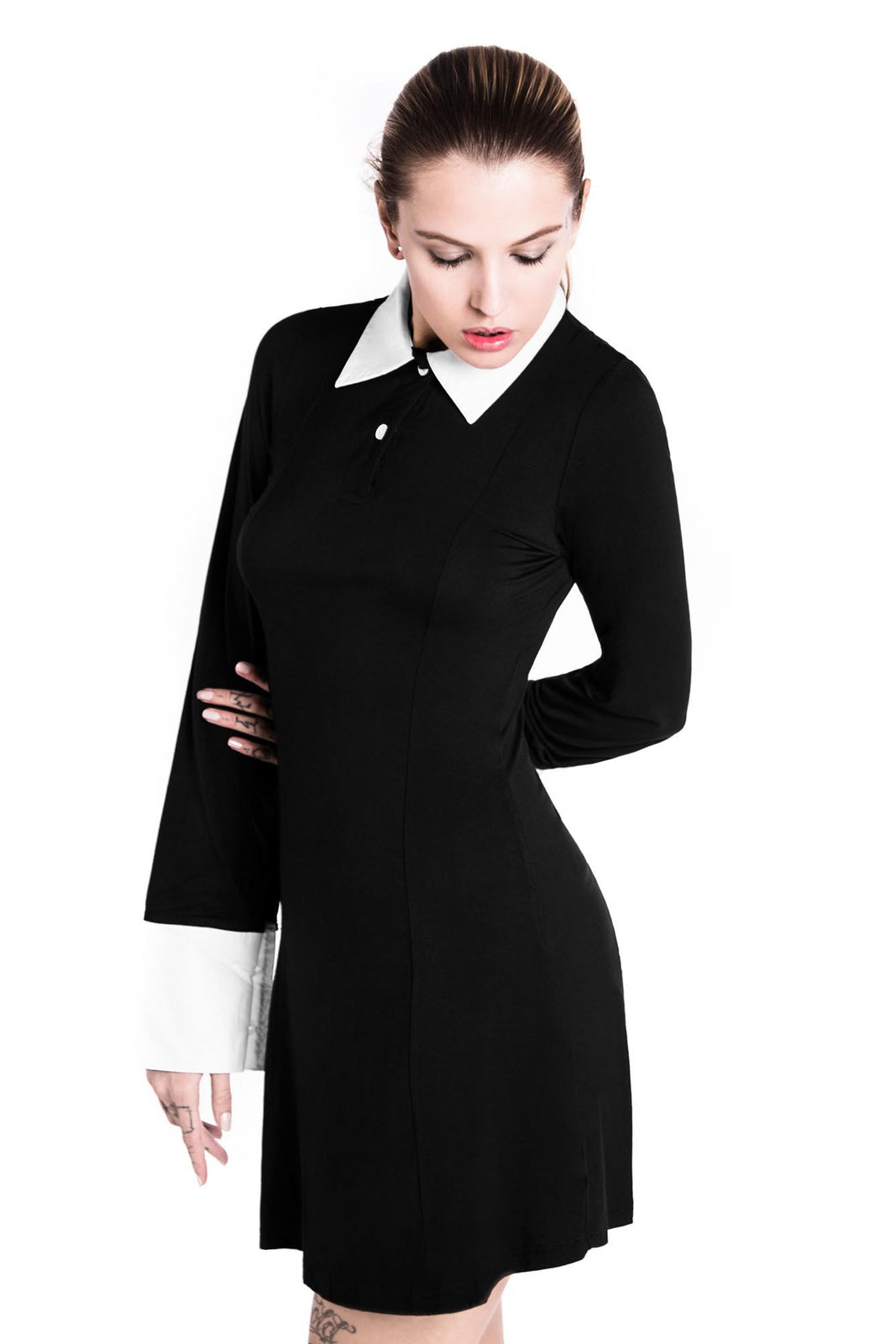 model wearing Wednesday Addams dress from Killstar