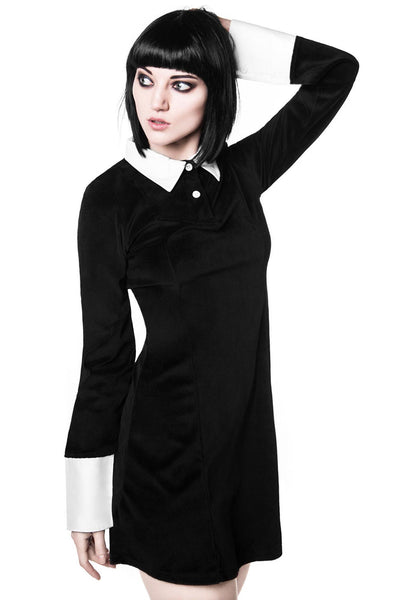 Model in KILLSTAR Black velvet wednesday addams style dress