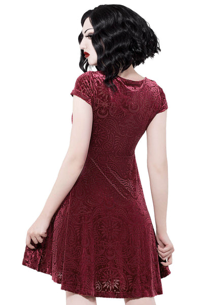 Angelyn Burnout Velvet Dress [WINE]