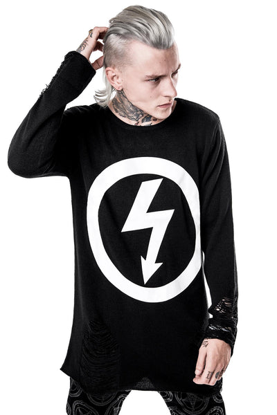 man in Antichrist Superstar Knit Sweater From KILLSTAR