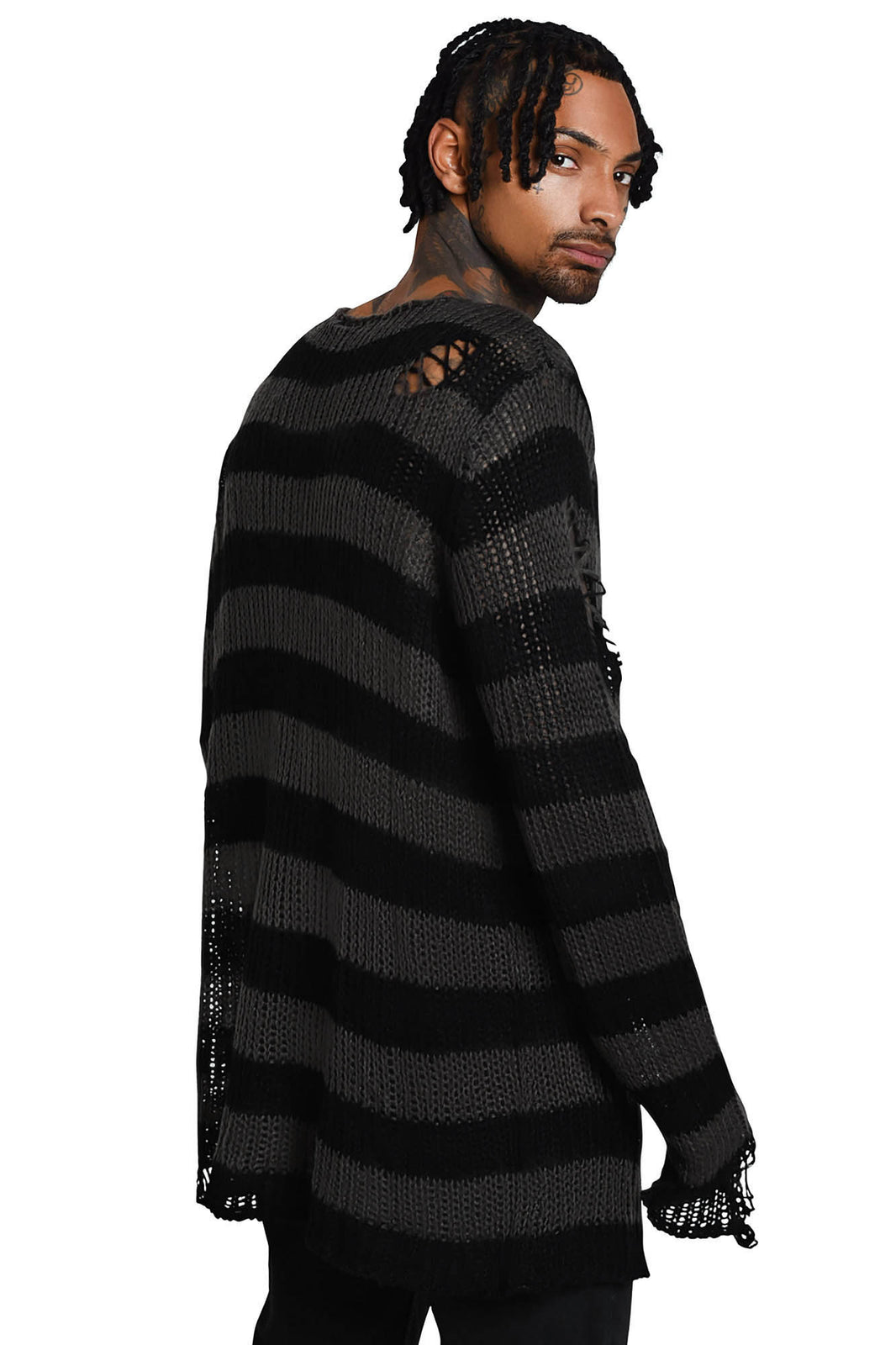 Ash Distress Knit Sweater [B]