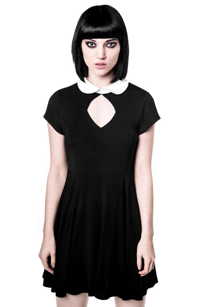 Girl Wearing Black Gothic Bad Habits Dress from KILLSTAR