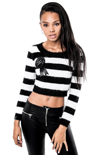 Beetle Crop Fuzzy Sweater [B]
