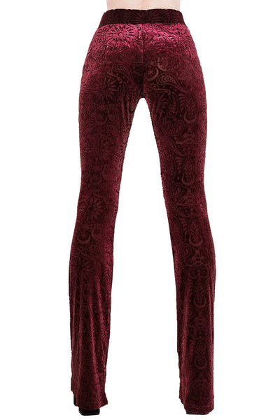 Bellatrix Burnout Velvet Bell Bottoms [WINE]