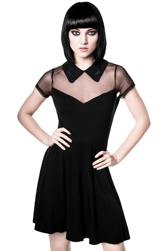Girl Wearing Black Gothic Skater Dress from Killstar