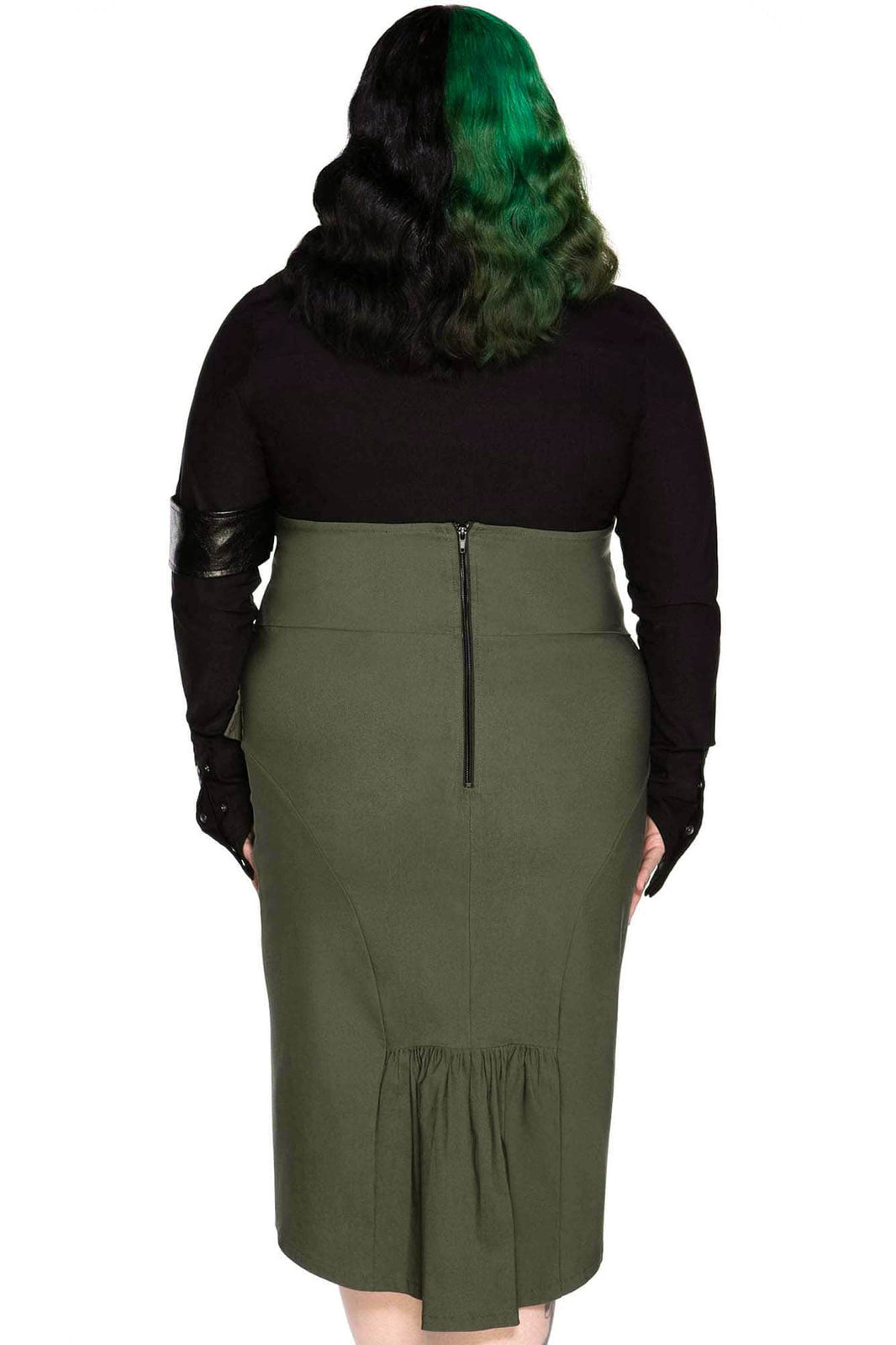Darkwave Division Midi Skirt [KHAKI] [PLUS]