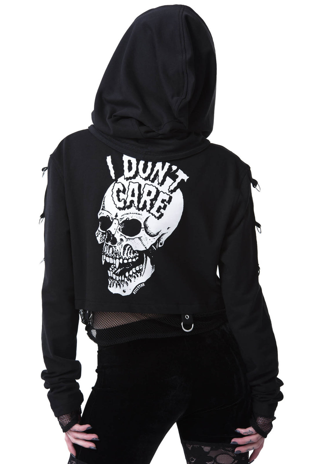 Don't Care Cropped Hoodie [B]