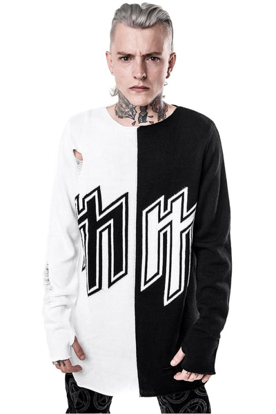 man in KILLSTAR x MARILYN MANSON Golden Age Split Knit Sweater