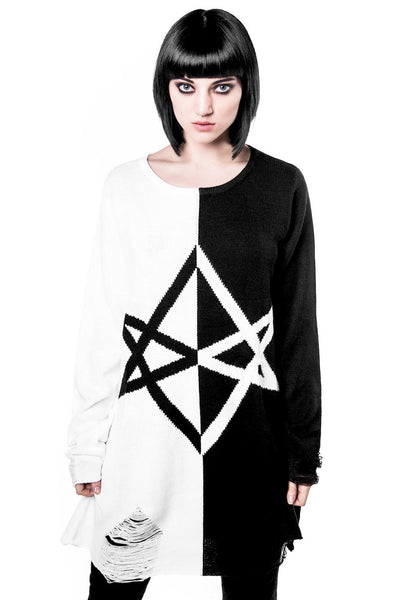 Hexagram Split-Knit Sweater [B]