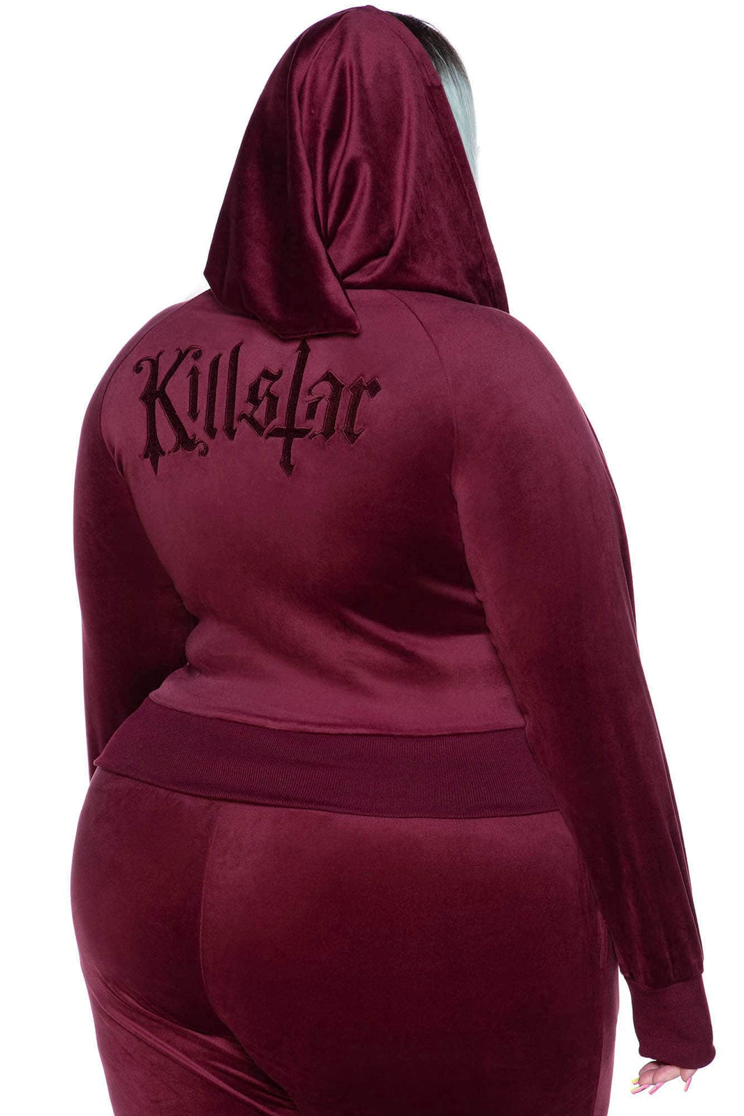 Just Crew-Sin Velvet Hoodie [BURGUNDY] [PLUS]