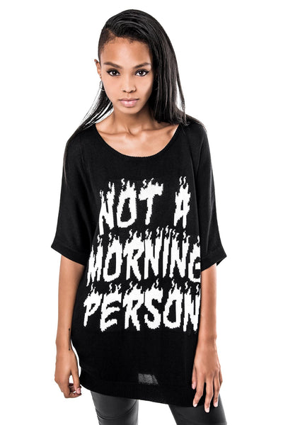 Morning Person Batwing Knit Top [B]