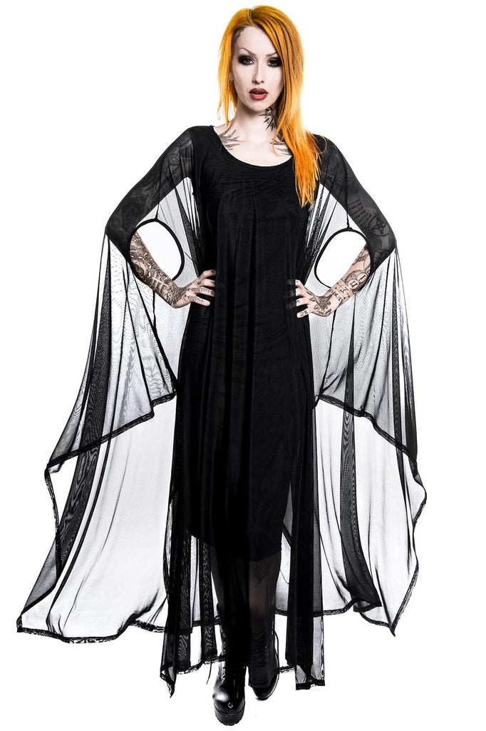 Model in KILLSTAR Goth Mystic Hanna Hell Mesh Maxi Dress