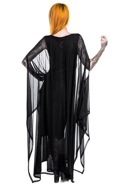 Back of Model in KILLSTAR Goth Mystic Hanna Hell Mesh Maxi Dress