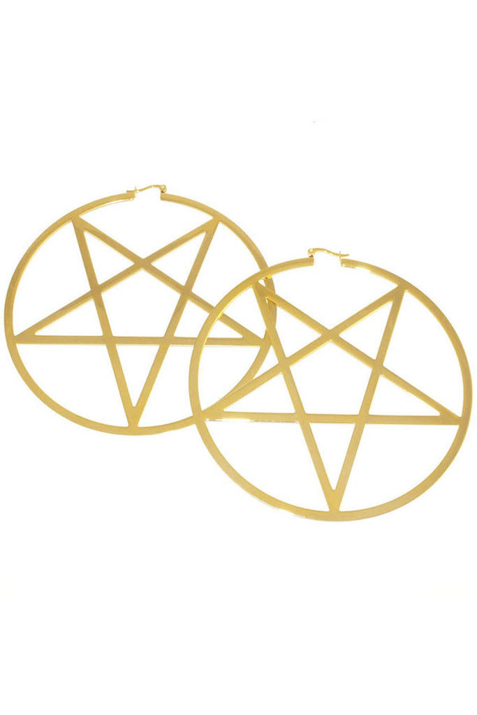 Pentagram Hoop Earrings [14K]