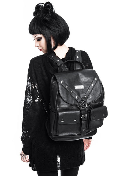 Girl Wearing Faux Leather Ritual Ring Backpack from KILLSTAR