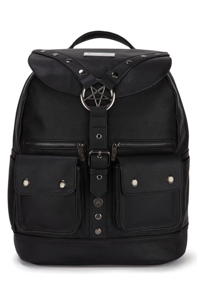 Faux leather ritual ring goth backpack