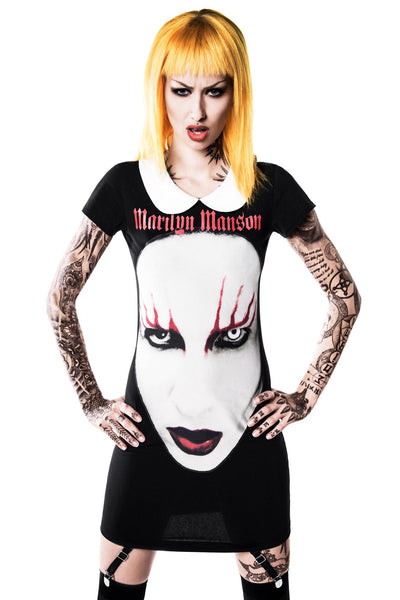 Woman in Spell Master Suspender Goth Dress from Marilyn Manson clothing line
