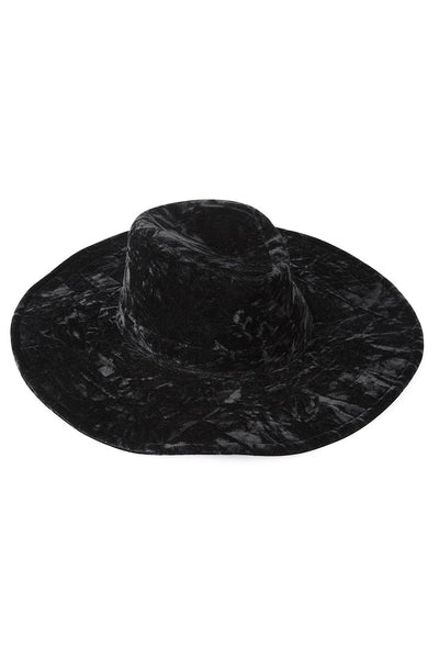 Black Velvet Fedora Witch Brim Hat from KILLSTAR