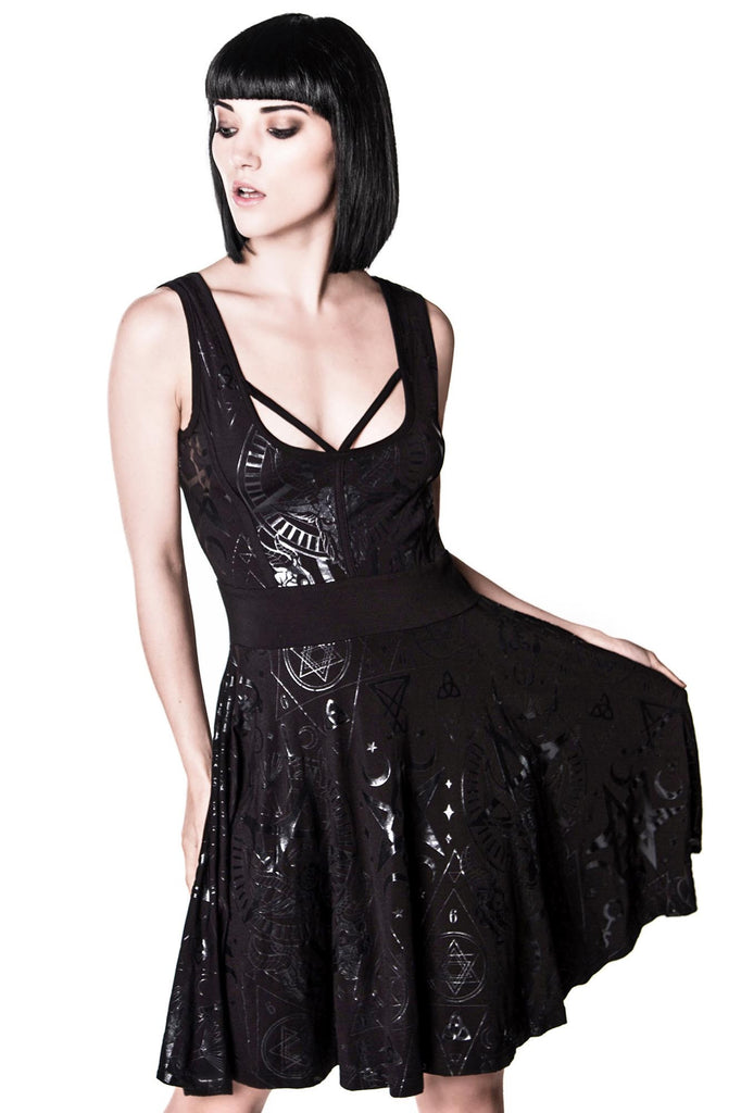 Girl wearing Goth Vicky Veil Skater Dress from KILLSTAR