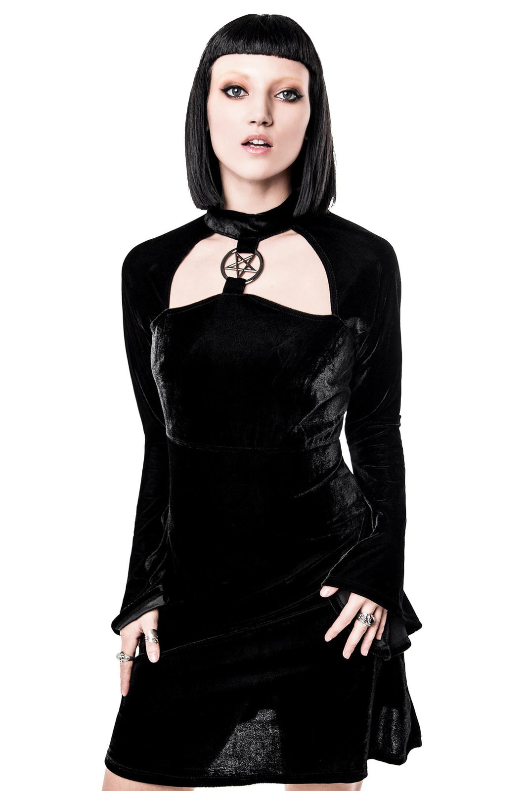 Girl in Ziva She's Evil Black Velvet Dress | Goth Dress