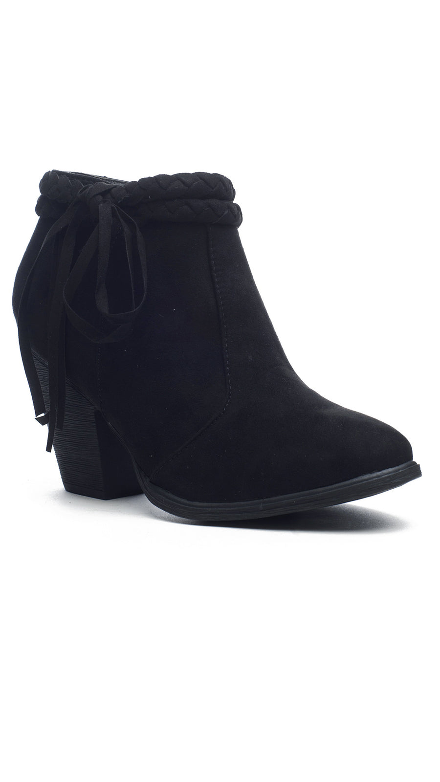 Fringe & Braided Bootie - Black