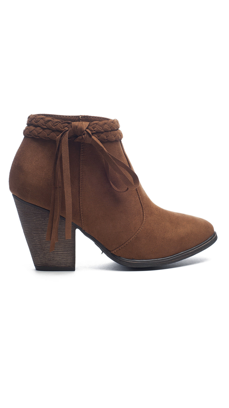Fringe & Braided Bootie - Chestnut