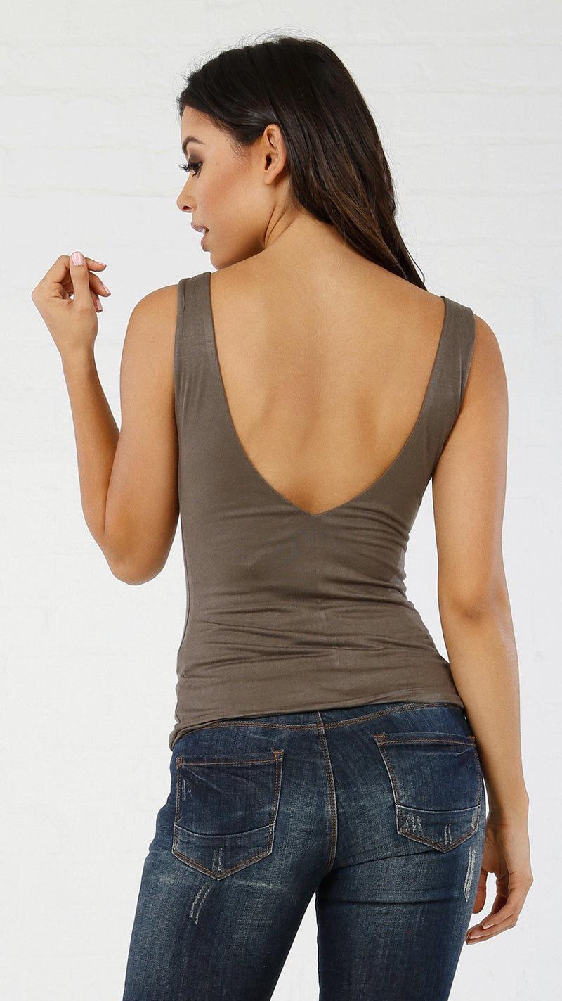 Deep V Cut Front & Back Tank - Msky