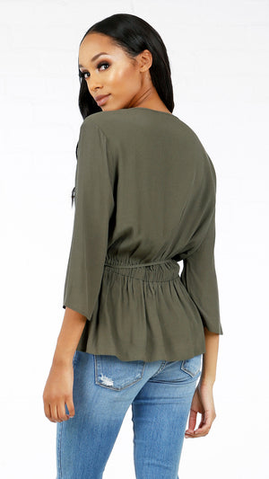 3/4 Sleeve Tie Around Blouse - ANGL