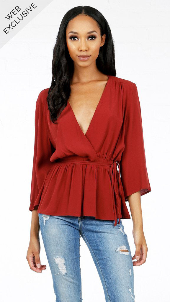 3/4 Sleeve Tie Around Blouse