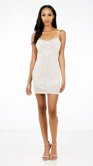 Mesh Wavy Lined Party Dress