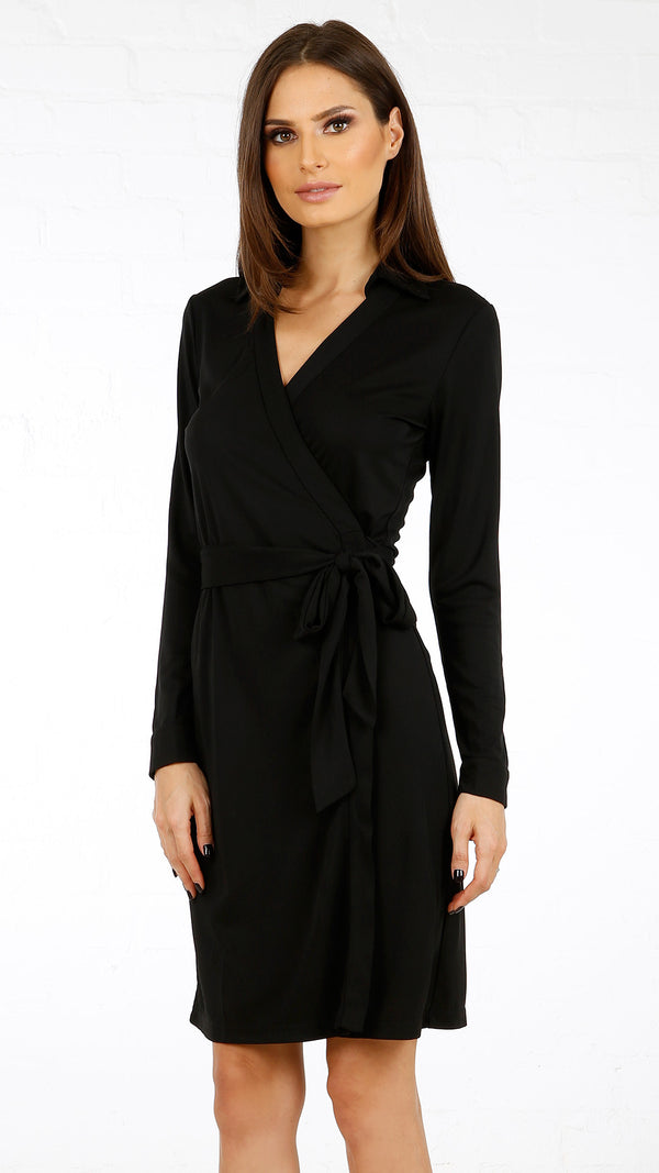 Collared Jersey Wrap Dress - Msky