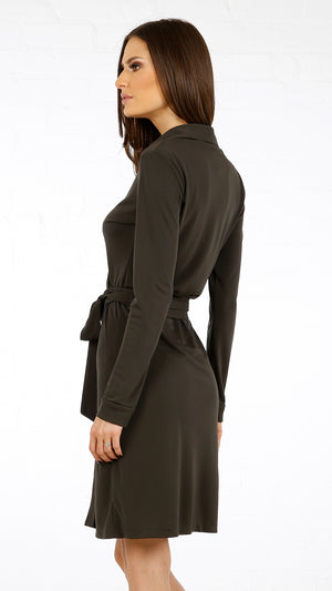 Collared Jersey Wrap Dress
