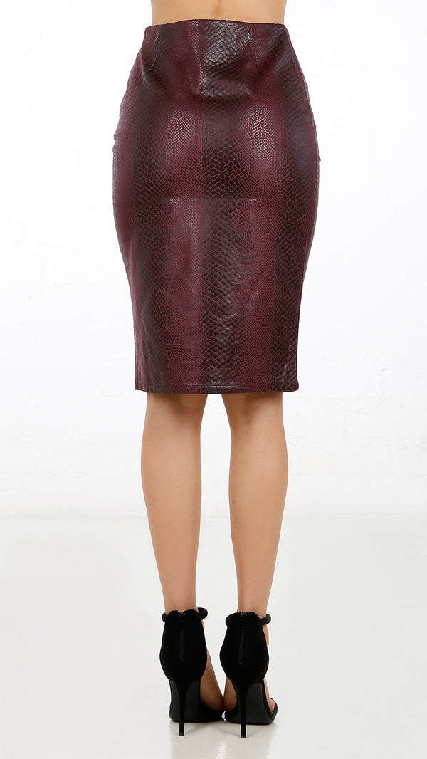 Snake Textured Pencil Skirt