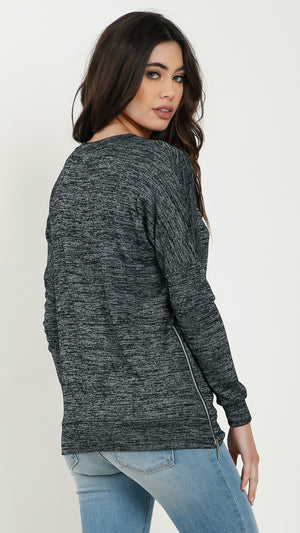 Double Zip Up Side V Neck Long Sleeve