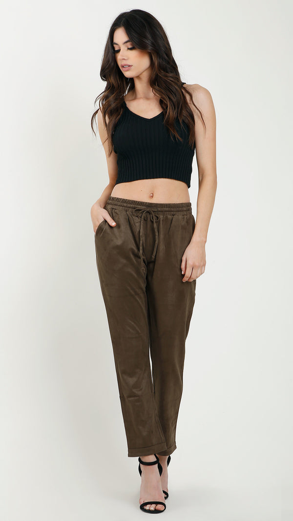 Suede Drawstring Pants