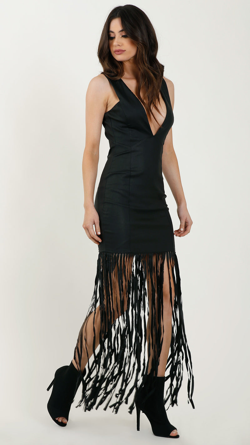 Pleather Fringe Maxi Dress