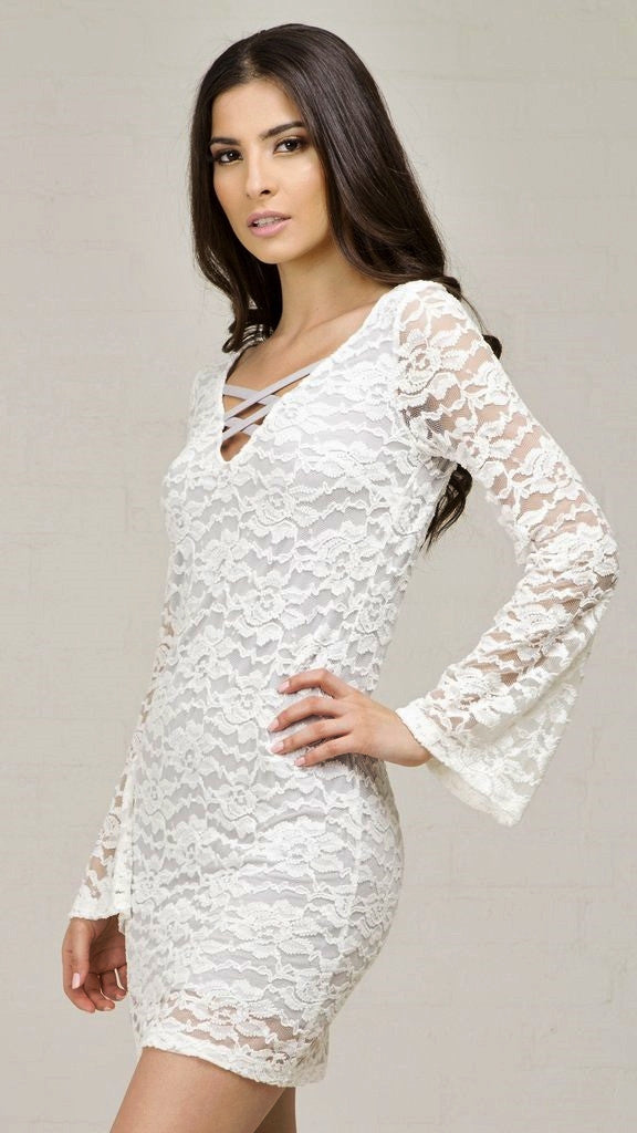 Boho Lace Bell Sleeve Dress - Msky