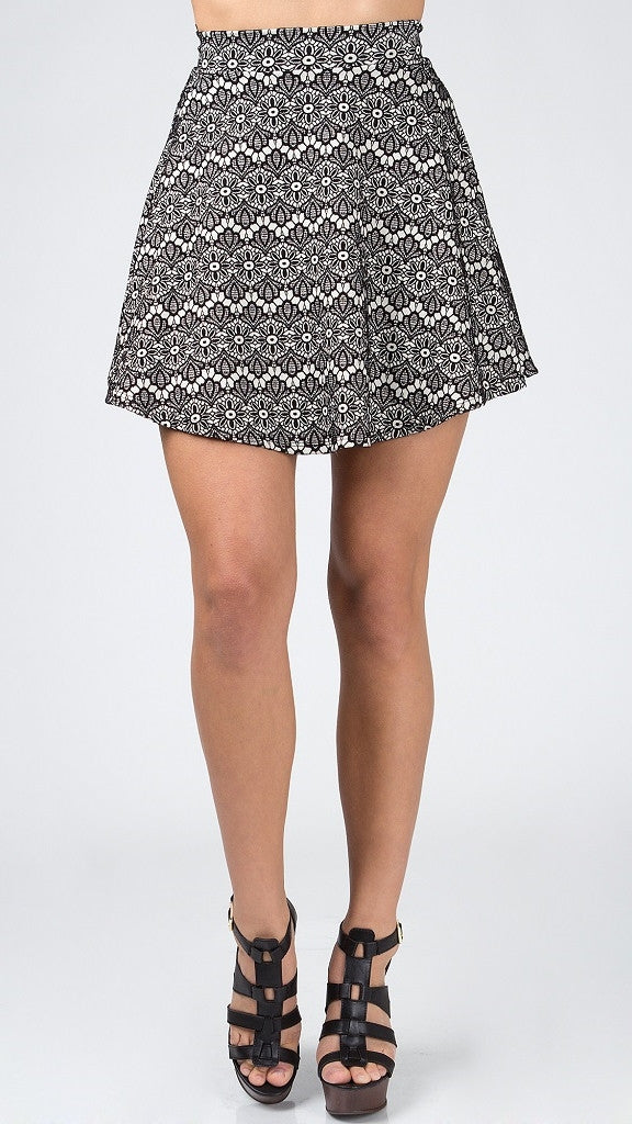 Cute Floral Lace Skater Skirt - Msky
