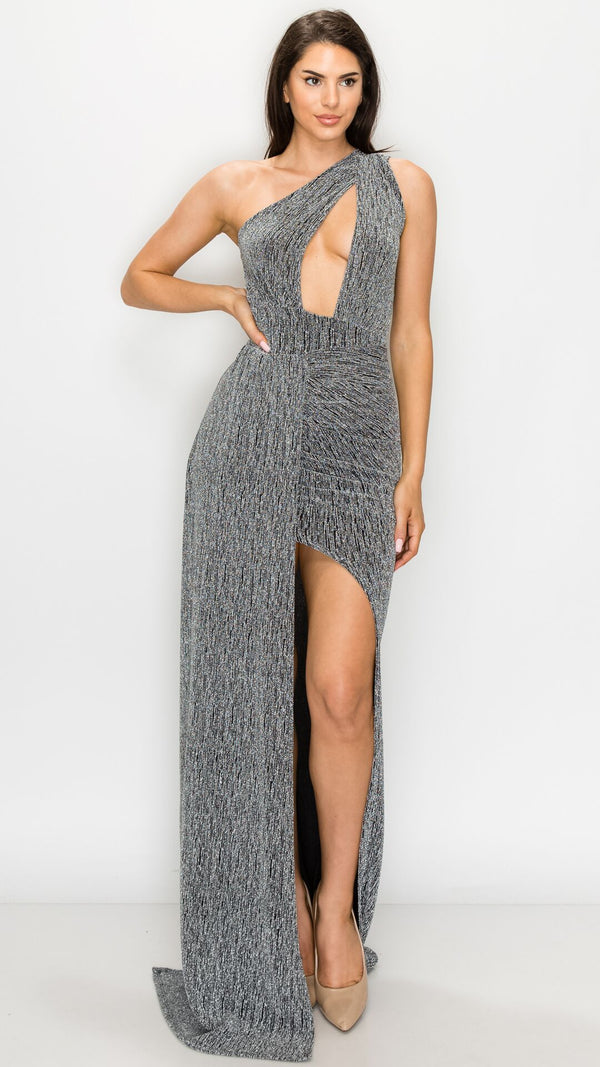 One Shoulder Shimmer Maxi Gown