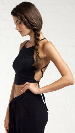 Tie Me Back Ribbed Crop Top - Black