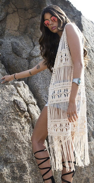 Coachella Crochet Long Vest