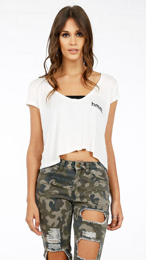 Kinda Care V Neck Crop Tee