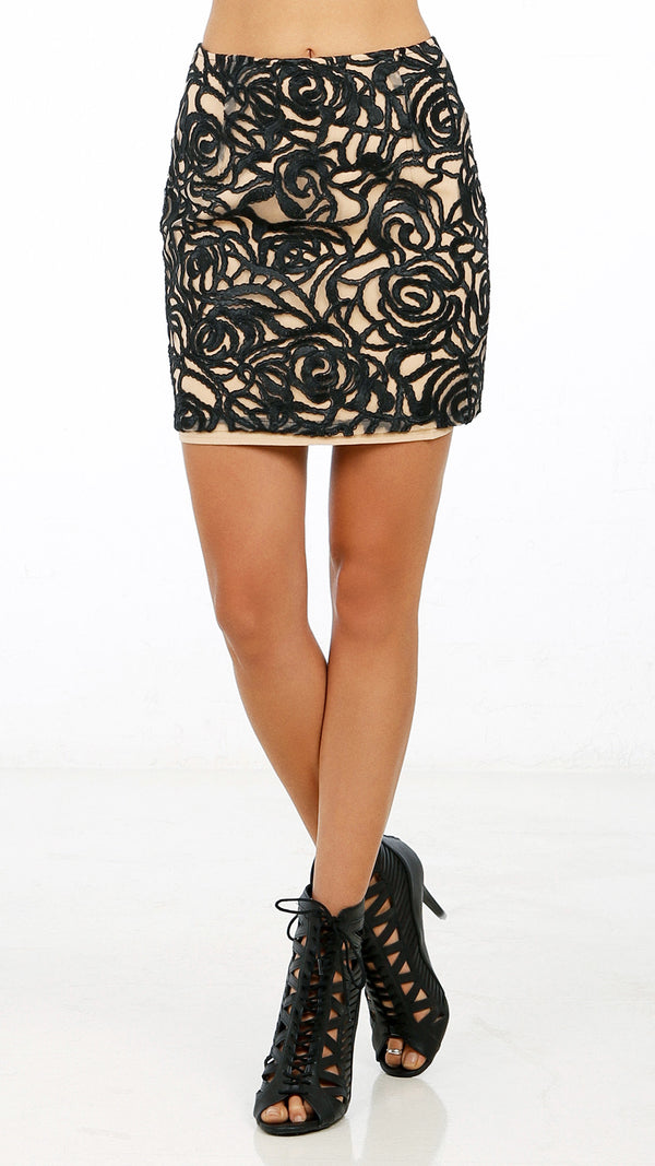 Abstract Patterned Mini Skirt - Msky
