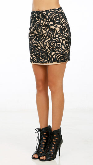 Abstract Patterned Mini Skirt ANGL Beauteous Patterned Mini Skirt