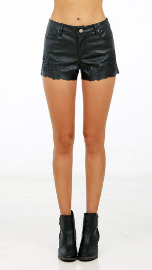 Pleather Floral Embroidered Shorts