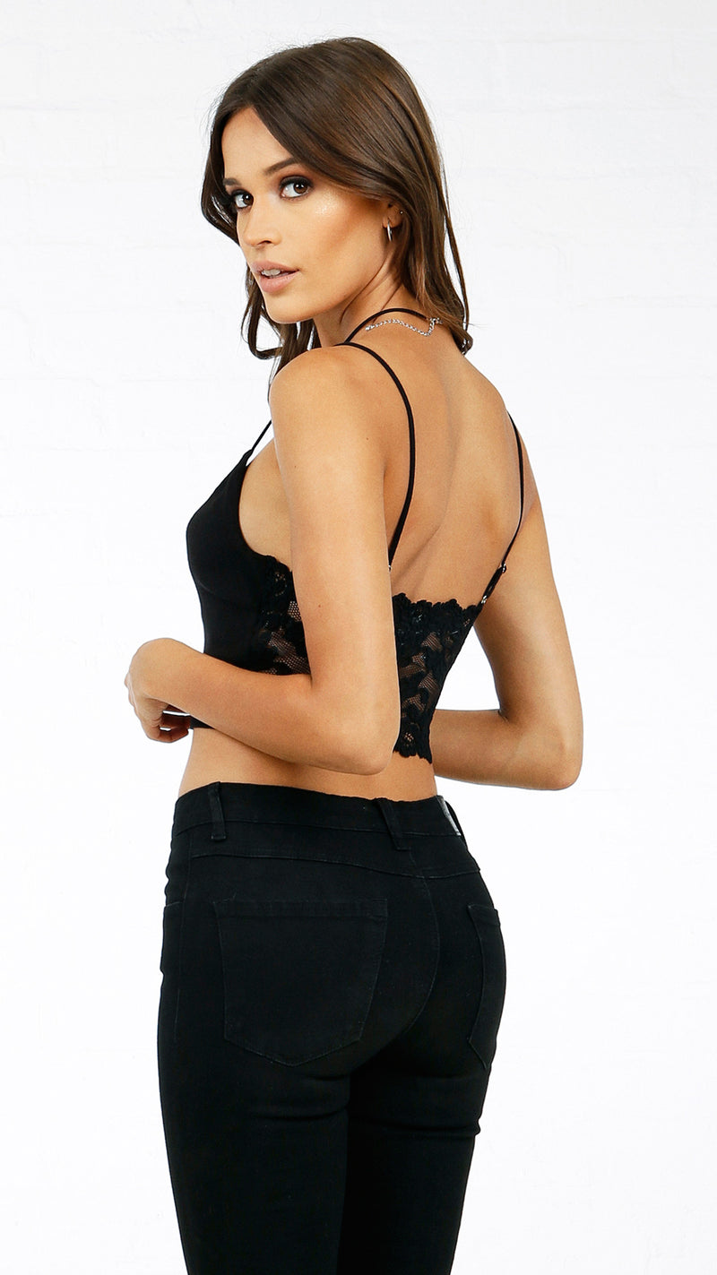 Knit Back Lace Detail Cami Crop Top