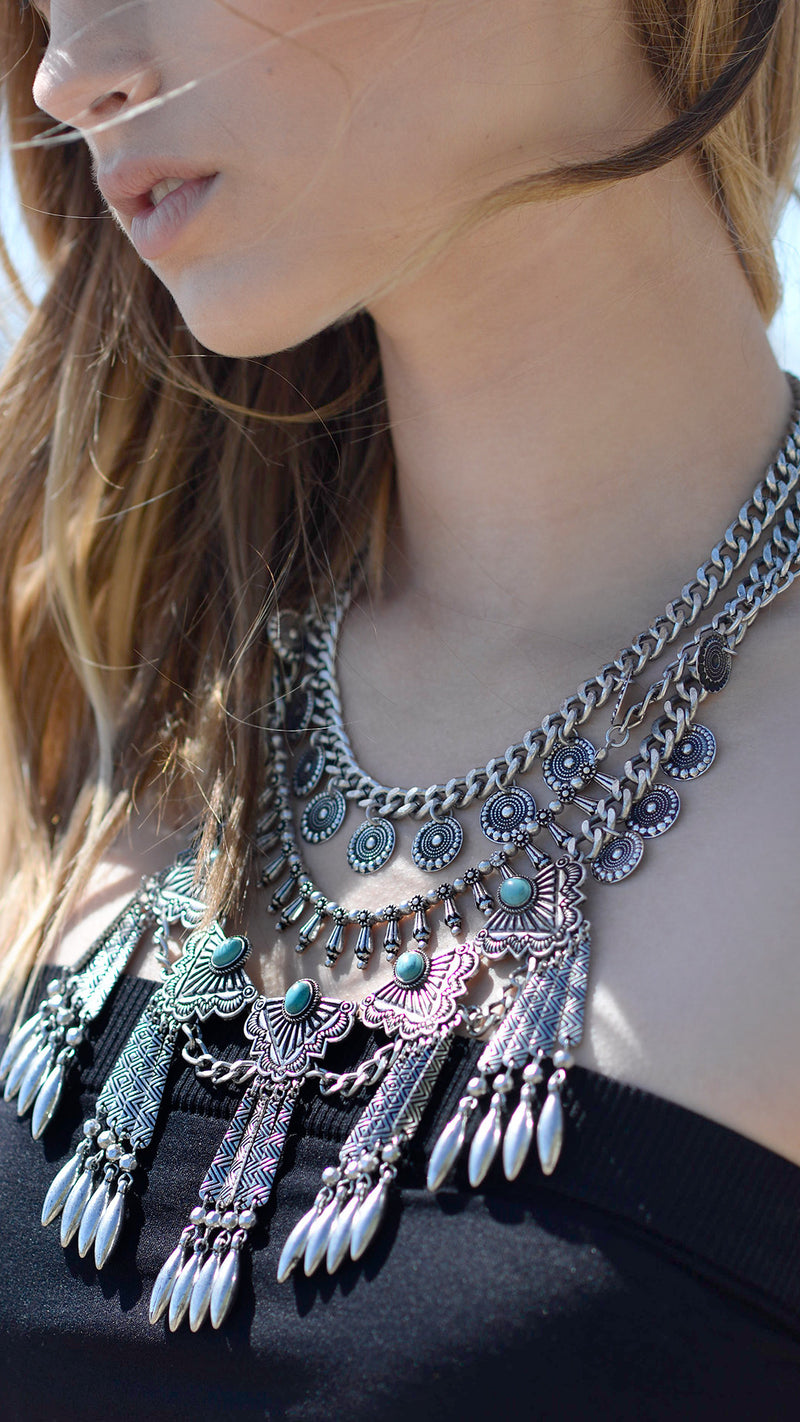 Everything Tribal Statement Necklace Set - Msky